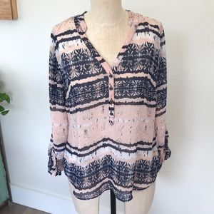 a.n.a Tops - Ana Sheer Printed Blouse Size Medium